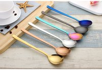 Wholesale wholesale dinner party supplies - 304 stainless steel spoon Long handle thickening of the dinner spoon Party supplies multicolor creative western spoon