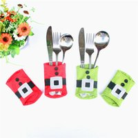 Wholesale thinning knife online - New Tableware Bags bags Santa Claus Snowman Kitchen Cutlery Holders Knives Forks Bags Christmas Christmas Decorations B0944