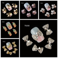Wholesale Nail Bow Butterfly - Wholesale- 10Pcs Pack(1pack=1style)3D Nail Decorations Luxury Butterfly Bow Beverages Beer Cup DIY Glitter Rhinestones For Nails Art Tools