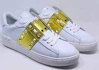 Wholesale Personalized Shoes Gold - European station 17 new metal rivet plate shoes solid color low to help tie shoes men and women personalized casual shoes