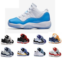 Wholesale Gum Shoes - Air retro 11 men Basketball shoes low UNC university blue Navy Gum Blue metallic Gold Varsity red concord legend gamma blue 72-10 sneakers