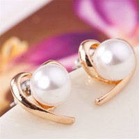 2016 New Fashion Jewelry Wholesale Factory Fornecedor Rose Gold Plated Pearl Stud Earrings For Women e0150