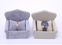 Wholesale Ring Display Sofa - [Simple Seven] Brief Korean Linen Jewelry Display High Quality Ice Velvet Lover Watch Sofa Tray Bracelet Cases Jewelry Container