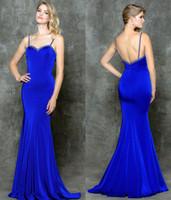ingrosso abiti da sera blu brillante-Vestiti da sera lunghi della sirena del vestito da promenade Backless sexy dell'abito di promenade Backless senza bretelle blu scuro di spaghetti