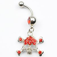 Wholesale Skull Color Ring - red color 0045 Nice belly ring nice skull style belly ring with piercing body jewlery navel belly ring body jewelry