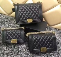 Wholesale Genuine Leather Vintage Tote Bag - New Arrival high quality Women's le boy Plaid Chain Bag caviar Leather Black vintage Quilted Flap bag women's leboy Shoulder Bag