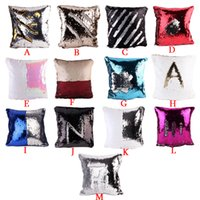 Wholesale Square Sequins Wholesale - 13 Styles Sequin Pillow Case cover Glamour Square Pillow Case Cushion Cover Home Sofa Car Decor Mermaid Bright Pillow Covers