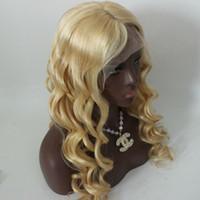 uzun peruk sarışın 613 toptan satış-Sarışın 613 Renk Brezilyalı Ipek Taban Peruk En Kaliteli Gevşek Dalga İnsan Saç Peruk Kadınlar Için doğal sarışın Uzun Dalga Peruk