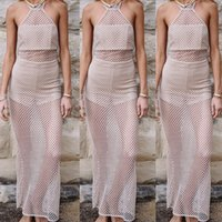 Wholesale Cheap Women Flare Dress - 2017 summer womens sexy full length hollow out fish net dresses halterneck backless cheap price brand fashion design free shipping hot sale
