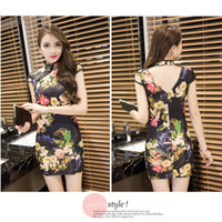 Wholesale sexy chinese party dresses - NEW Chinese Style Floral Women Dresses Elegant Flower Printed Sleeveless Casual Evening Party Dress Sexy Club Wedding
