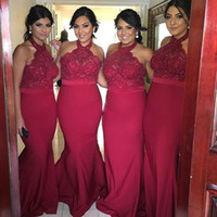 Wholesale Stretch Satin Halter Dress - Long Burgundy Bridesmaid Dresses For Country Wedding Halter Appliques Beaded Stretch Satin Mermaid Maid Of Honor Dresses Free Shipping