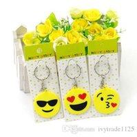 Wholesale Cartoon Kids Bag Strap - MIX STYLE Emoji pvc Keychains toys for kids round straps bag emoji Cartoon Keychains emoji Fashion Accessories