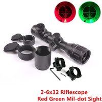 Wholesale Mil Dot Reticle Riflescope - Optics Sight 2-6x32 AOE Red Green Illuminated Mil-dot Reticle Short Rifle Scope Mount Rail 20mm Reflex Riflescope Hunting Caza