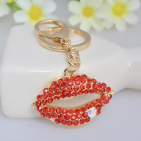 Wholesale Red Lips Keychain - Fashion Red lips Gem Key Ring Jewelries Ladies Metal Keychain Jewelry Accessories Wholesale Good Gift Top Quality