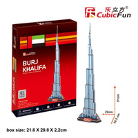 Wholesale Towers Free Paper Models - Wholesale- Children favorite toy gift New arrival 3d paper puzzle model stereomodel C151H Burj Khalifa tower christmas free shipping