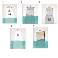 Wholesale Hippo Art - Modern Nordic Style Oil Painting (No Frame) On Cnavas Lovely Animal Posters Hippo Giclee Wall Art For Home Docor Kid's Baby's Room Decor
