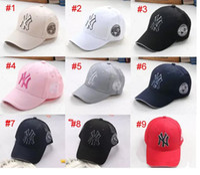 Wholesale Ny Children - children Baseball MLB Cap 9 Color NY Embroidery Letter Adjustable Snapback Hip Hop Dance Hats kids Outdoor Cap hat