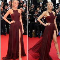 Wholesale Blake Lively Yellow Dress - Gossip Girl Blake Lively Sexy Chiffon Celebrity Red Carpet Dress Burgundy Gown Split By Frida Gianni Celebrity prom Dresses 2017