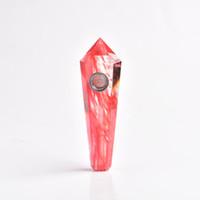 Wholesale Crystal Healing Wand - Wholesale smoking pipes natural red melting crystal quartz stone Tobacco Pipes healing Hand Wands chinese pipes smoking Free Shipping