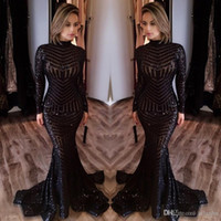 Wholesale Sequin Ruched Dress - 2017 Hot Sale Cheap Long Evening Dresses High Neck Long Sleeves Floor Length Memraid Prom Party Dresses Formal Evening Gowns Custom Made
