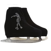 Wholesale Adults Ice Skates - Wholesale- 24 Colors Child Adult Velvet Ice Skating Figure Skating Shoes Cover Roller Skate Fabric Accessories White Skater 3 Rhinestone
