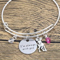 Wholesale Deer Silver Alloy Charms - 12pcs Baby Deer Fawn Bracelet I'm Always With You Deer Father Daughter Mother Daughter bangles Crystals