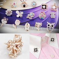 Wholesale Korean Clip Brooches - Wholesale- Korean Style Crystal Rhinestone Brooch Small Animal Flower Collar Clip Suit Women Shirt Collar Pin