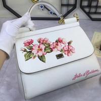 Wholesale Flowers India - The palm print head layer cowhide handbag India flowers Doctor Bag Miss Sicily flower leather handbag bag