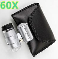 lente lupa al por mayor-60X Microscopio portátil Lupa Lupa Lente de ojo LED Joyería Lupa UV Detector de moneda