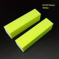 yellow nail buffer block achat en gros de-Vente en gros - 2pcs / lot de haute qualité Jaune Pro Nail Buffer File Sponge Sandpaper Emery Block Polishing Candy Color Manicure Pédicure Sets Pu
