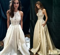 Wholesale Taffeta Train Wedding Dresses - Ivory Lace Taffeta Boho Beach Wedding Dresses Custom Make New Design high neck a-line Wedding Gown Dolce vita by Lihi Hod 2016