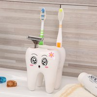 Wholesale Hot pc Plastic Cartoon Toothbrush Holder Hole Creative Cartoon Toothbrush Stand Tooth Brush Shelf Holder Bathroom Accessories