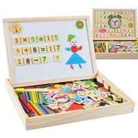 Wholesale Magnetic Writing Board Kids - Baby Toy Multifunctional Magnetic Jigsaw Puzzle Wooden Double Sides Writing Drawing Board kids Fancy Toys Wood Multifunctional Learning Box