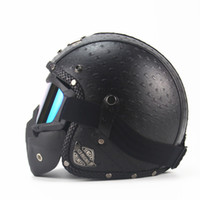 Wholesale half helmet goggles - Wholesale- Motocross helmet Mask Detachable Goggles And Mouth Filter Perfect for Open Face Motorcycle Half Helmet Vintage Helmets