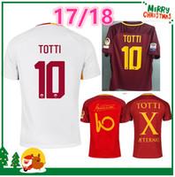 Wholesale Embroidery Sports Jerseys - 17 18 Rome soccer TOTTI DZEKO Men Sports Embroidery DE ROSSI Jersey 2017 2018 ROMAS EL SHAARAWY NAINGGOLAN Football shirt