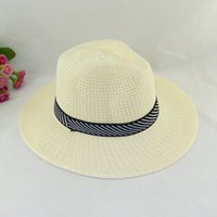 Wholesale Hollow Out Jazz Hat - Summer Jazz Hat Hollow Out Grass Braid Beach Travel Hat Men Fedoras Fashion Sun Hats By DHL Free