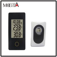 Digital outdoor weather thermometers - MOCITA New Portable Wireless Weather Station Black with Indoor Outdoor Thermometer Monitor Digital Alarm Clock For Home Office