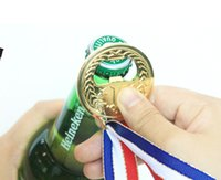 Wholesale Gold Color Favors - No.1 Winner Gold Color Medal Bottle Opener Champion Beer Opener Creative Party Favors Attached A String wa3796