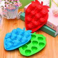 Wholesale Strawberries Soap Molds - Silicone Strawberry Shape Mold For Ice Frozen Cube Tray Cute Molds Maker Jelly Pudding Craft Soaps Bar Party Drink Mould