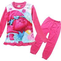 Wholesale Wholesale Christmas Underwear - Trolls Pajamas Sleepwear Suits Baby Girl Clothes Children Outfits Cartoon Long Sleeve Sleepwear Printing Kids Underwear Top+ Pants kids