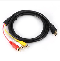 Wholesale Cable Hdmi Rca Audio - 1.5M 5Ft HDMI To 3 RCA Male to Female 1080P Video Audio AV Adapter Cable For HDTV