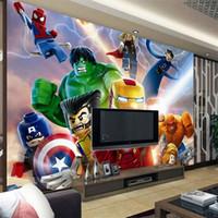Wholesale Cartoon Sound Effects - 3D Lego Avengers wallpaper for walls Mural Cartoon wallpaper Kids Bedroom Room Decor TV backdrop wall covering Photo wallpaper