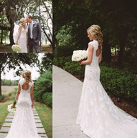 Wholesale Romantic Wedding Dresses Vintage Style - 2017 Country Style Wedding Dresses Mermaid V-Neck Backless Sweep Train Lace and Applique Romantic Bridal Gowns Dress Vestido De Noiva