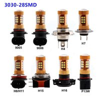 Wholesale 2x H7 - 2x H4 H7 H8 H11 9005 9006 H16 P13W H15 3030 28SMD Car LED Fog Lights Tail Driving Bulbs DRL Headlights White