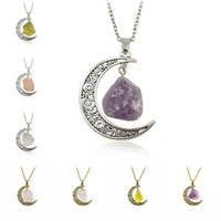 Wholesale Moon Necklace Colors - Vintage Natural Stone Moon Pendant Necklace Crystal Pendants for Women ancient Silver Plated Fashion Jewelry 8 colors