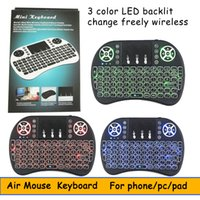 Wholesale Russian Keyboard For Tablet - Mini Wireless Keyboard 3 colour backlit 2.4GHz English Russian Air Mouse Remote Control Touchpad For Android TV Box Tablet Pc DHL
