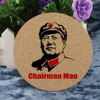 Wholesale Cork Pieces - Wholesale- 1 Piece Chairman MaoTse-tung Zedong Creative Gift Souvenir 10cm Round 0.5cm Thickness Insulation Mat Hot Pad Cork Coaster