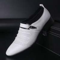 Wholesale charming black men dress shoes - 2017 Hot Sale Cool sexy charming Groom shoes men's wedding shoes leather shoes for bridegroom size:39-44 AX10