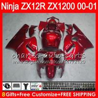 zx12r ninja kawasaki verkleidungen großhandel-8Geschenke 23 Farben Für KAWASAKI NINJA ZX 12 R ZX12R 00 01 02 50HM10 glänzend rot ZX1200 ZX1200C ZX 1200 ZX 12R ZX-12R 2000 2001 2002 Verkleidung