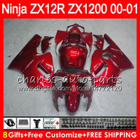 ingrosso zix12r ninja kawasaki corrimano-8Gifts 23Colors Per KAWASAKI NINJA ZX 12 R ZX12R 00 01 02 50HM10 rosso lucido ZX1200 C ZX1200C ZX 1200 ZX 12R ZX-12R 2000 2001 2002 Carena